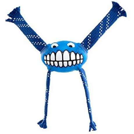 Rogz Flossy Grinz ovális gumilabda, kötél kezekkel Kék S 16,5cm