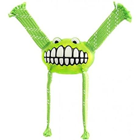 Rogz Flossy Grinz ovális gumilabda, kötél kezekkel Zöld L 24cm