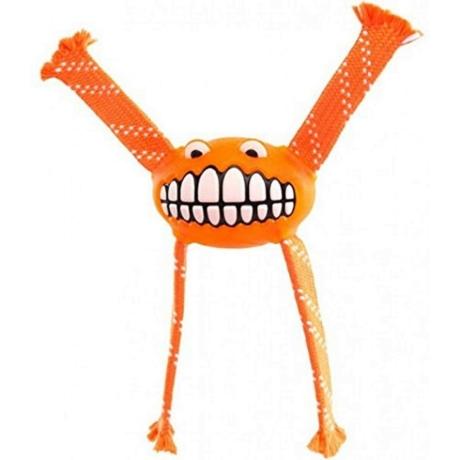 Rogz Flossy Grinz ovális gumilabda, kötél kezekkel Narancs S 16,5cm