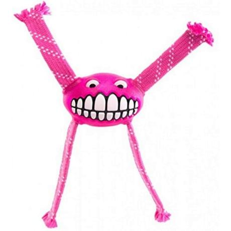 Rogz Flossy Grinz ovális gumilabda, kötél kezekkel Pink M 21cm