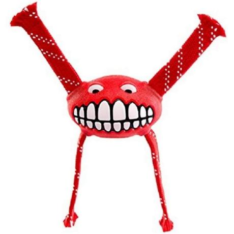 Rogz Flossy Grinz ovális gumilabda, kötél kezekkel Piros M 21cm
