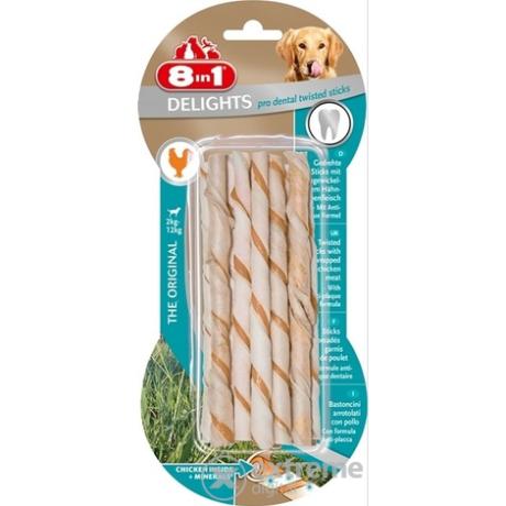 8in1 Delights Dental csavart rágórúd csirkehúsos 10 db